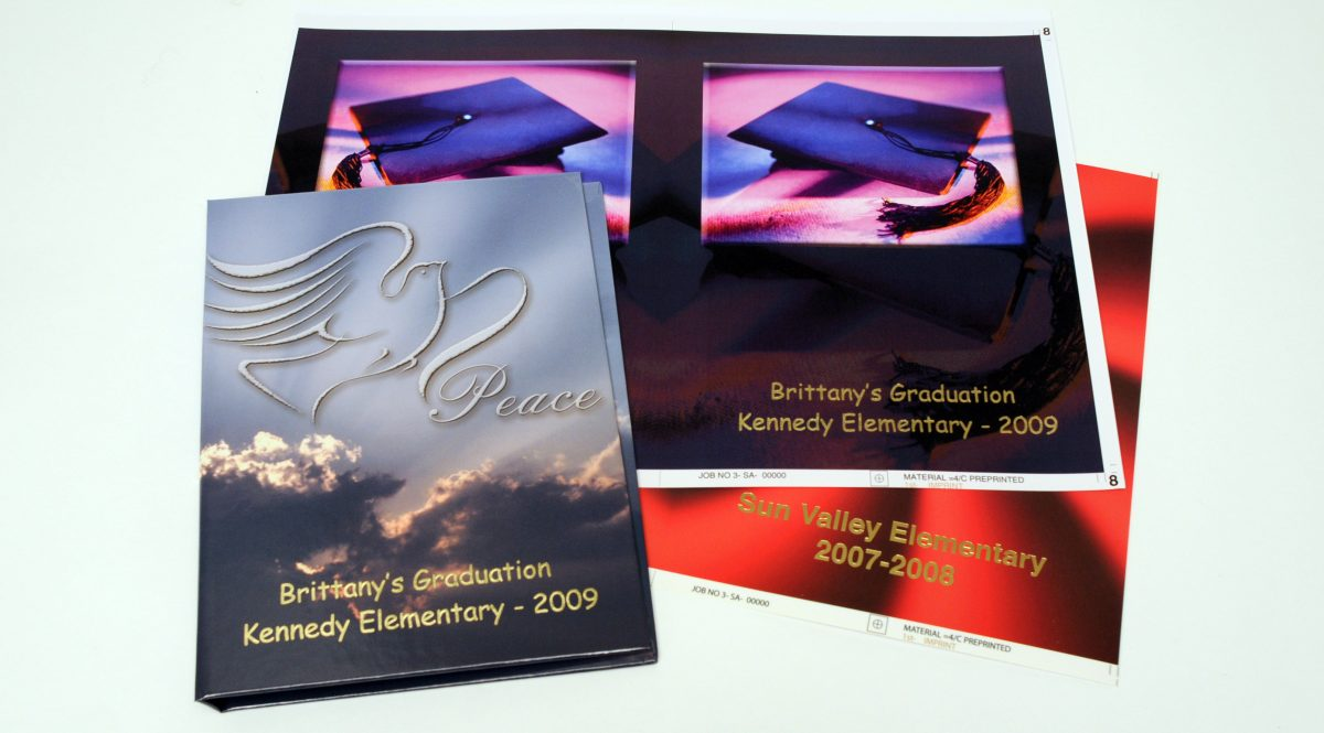 Laminated polypropylene book covers printed using Foil Xpress and Foil Direct by ImPress Systems