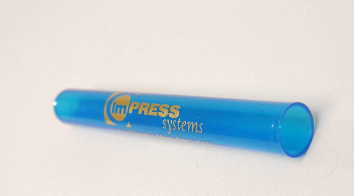 Polypropylene vials printed with Cyclone Cylinder Module by ImPress Systems